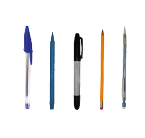 Various writing utensils in front of a white background