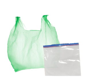 A plastic grocery bag and a zippable plastic back in front of a white background.