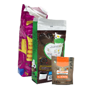 Pet food and treat bags in front of a white background