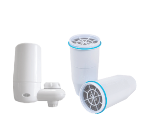 Two water filters in front of a white background