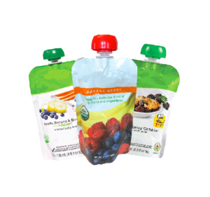 Three baby food packages with a white background