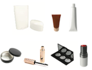 Photos of various beauty products in front of a white background.