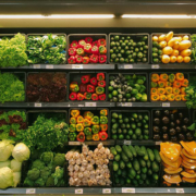 A wall of vegetables at a grocery store.