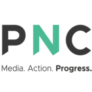 "Progress Now Colorado's Logo which says ""PNC Media. Action. Progress."""