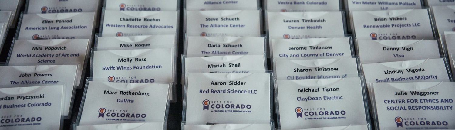 Name tags for the Best for Colorado Awards Ceremony nicely aligned in rows