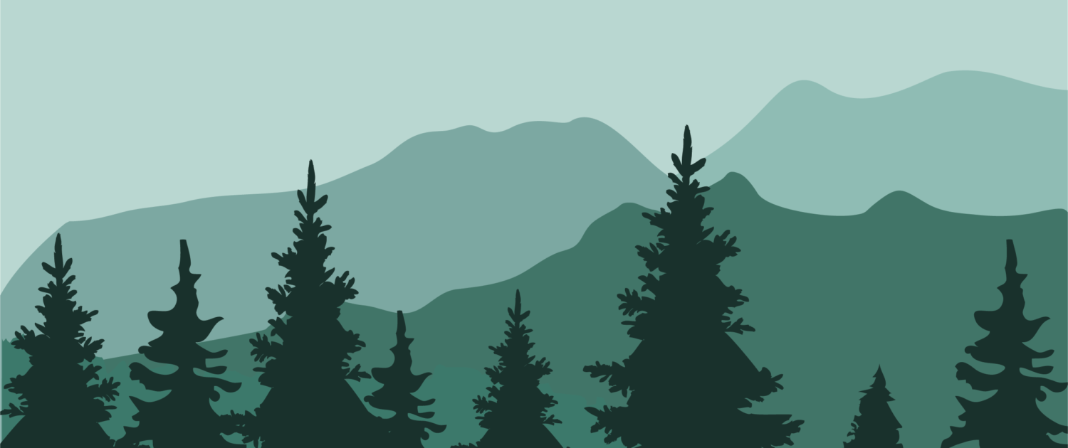 A graphic in turquoise of mountains in the background with pine trees in the foreground