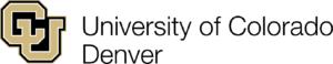University of Colorado Denver logo. Gold C and U with black outline and background