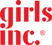 girls inc. logo white background, red text