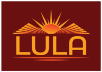 Lula Logo. Red background, Lula written in yellow, yellow mountains with sun coming up over them