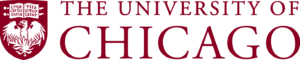 University of Chicago logo. white background, red text. red badge with bird and book