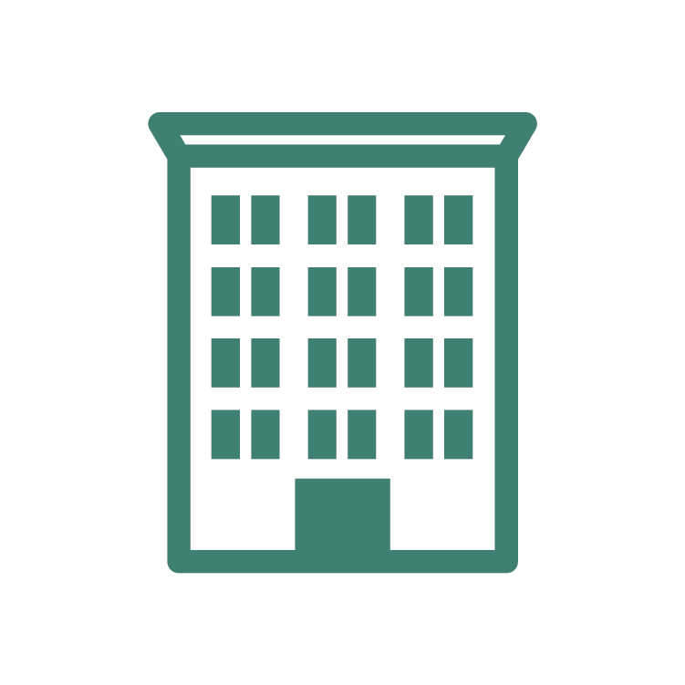 Building icon outlined in green