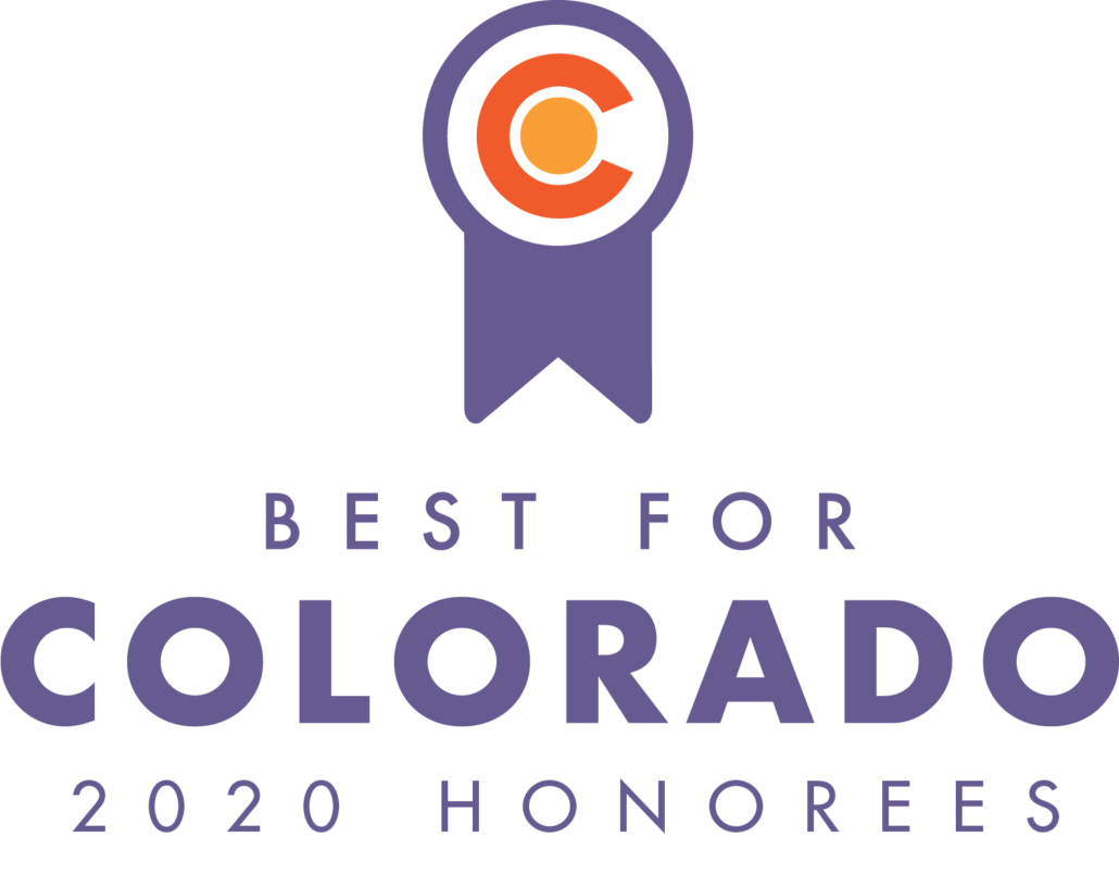 Best for Colorado logo, purple ribbon with Colorado logo inside of it