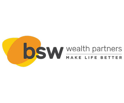 bsw wealth partner logo, two abstract orange and yellow overlapping each other. make life better
