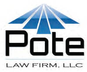 Pote Law Firm LLC logo, 5 blue triangles forming a larger triangle