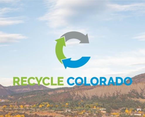 Logo for Recycle Colorado against a mountain backdrop.