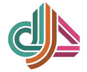DOJO4 logo, teal d, orange j, pink 4