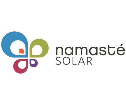 Namasté Solar logo, Blue, green, purple and pink tear drops meeting in the center