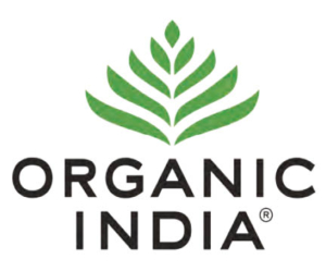 Organic India logo, green separated leaf graphic