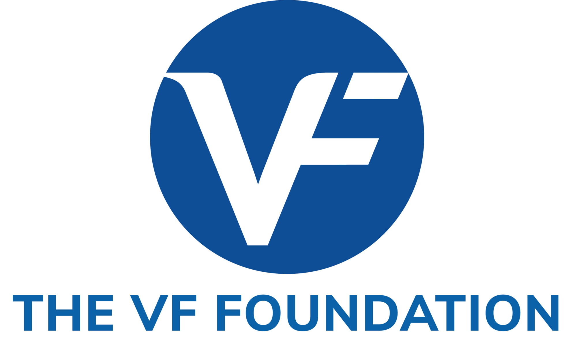 The VF Foundation logo. Blue circle with white VF.