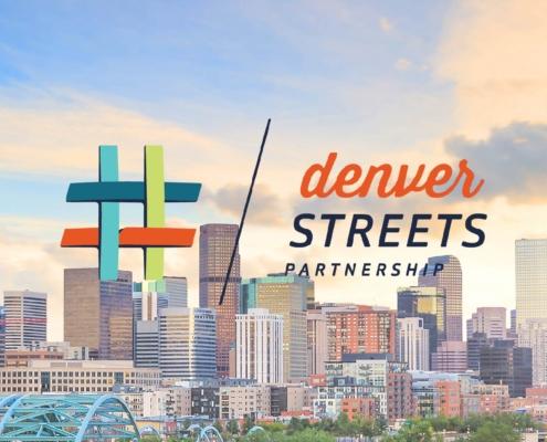 Logo for Denver Streets Partnership against a skyline.