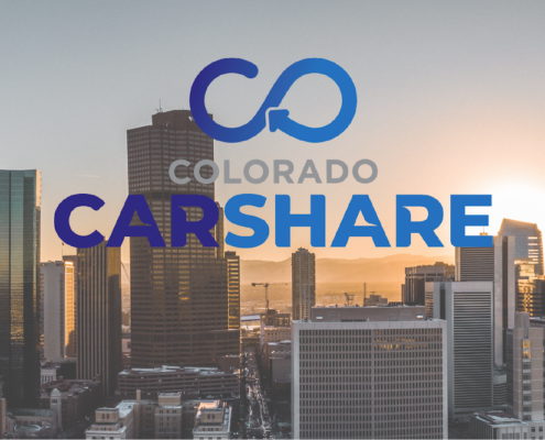Colorado CarShare logo against skyline
