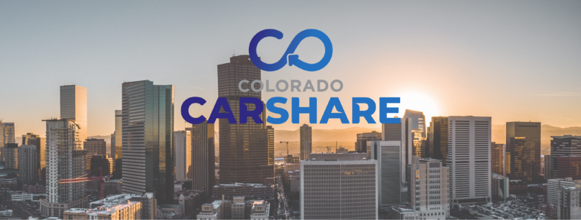 Colorado CarShare logo against skyline