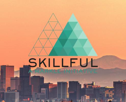 Skillful logo (teal triangle) against skyline image