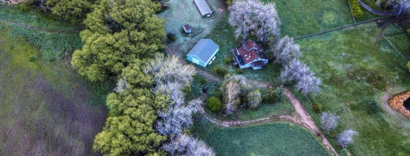 An aerial shot of a farm.