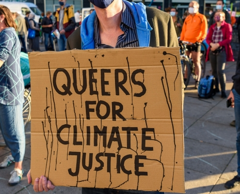 """A person stands in the middle of a protest wearing a mask and holding a cardboard sign that says """"Queers for climate justice"""" in all caps."""
