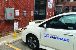 Car charging at a Fermata Energy station